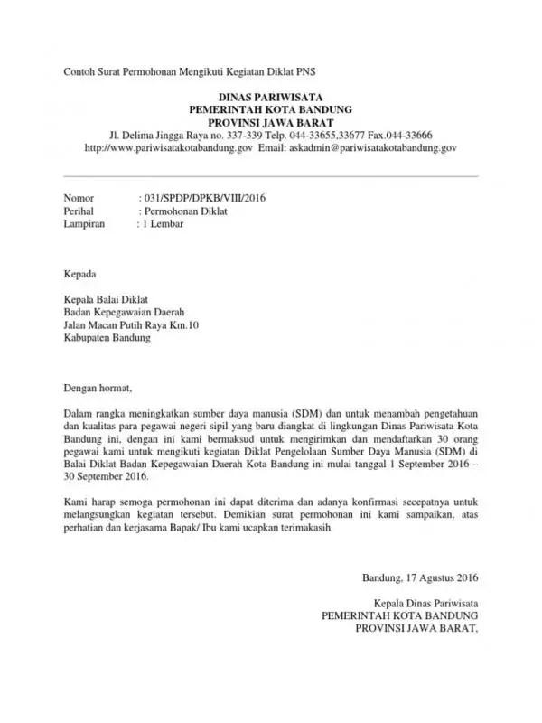 Surat Permohonan Izin Mengikuti Kegiatan Seminar Dan Pelatihan Pegawai Negeri Sipil