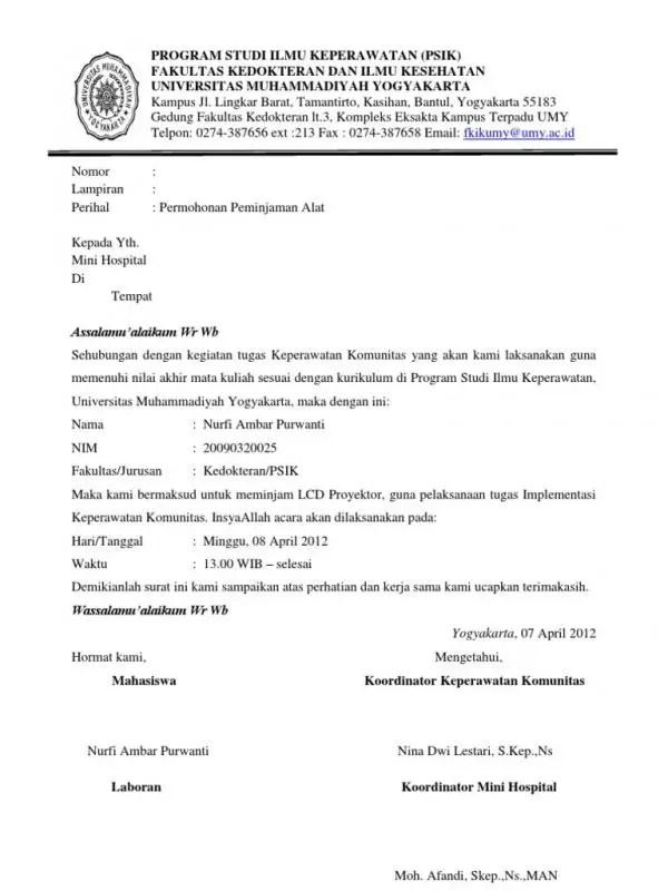 Surat Permohonan Izin Peminjaman Alat