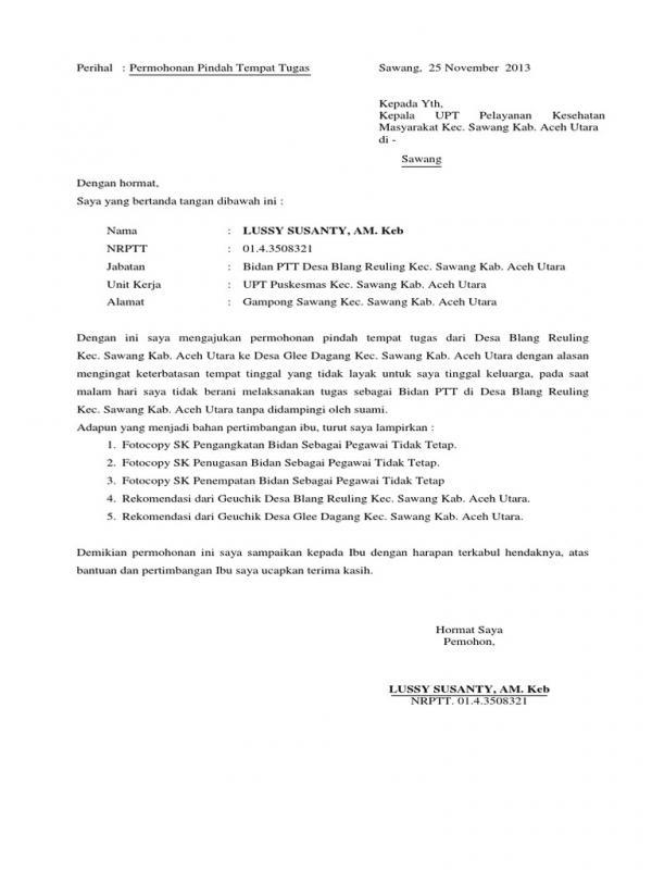 Surat Permohonan Pindah Tugas Bidan Desa