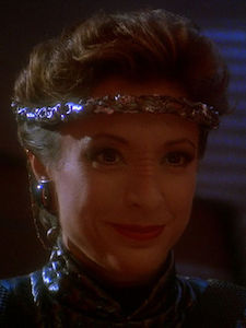 Kira Nerys (Mirror) - In the mirror universe, she has a harem with men and women. Well okay then.
