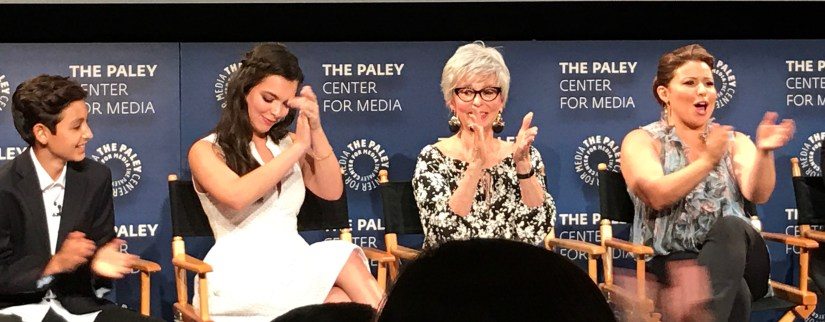 The cast clapping to thank us for coming