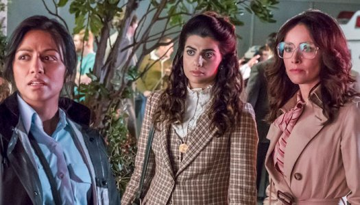 """TIMELESS -- """"The Day Reagan Was Shot"""" Episode 208 -- Pictured: (l-r) Karen David as Young Denise Christopher, Claudia Doumit as Jiya, Abigail Spencer as Lucy Preston"""