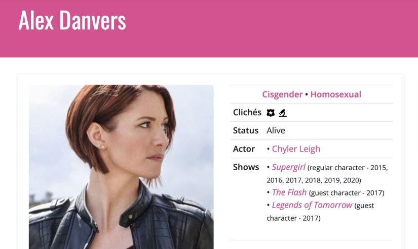 Alex Danvers' page, showing the three shows she's been on and the years. I bet you thought it would be Sara Lance!