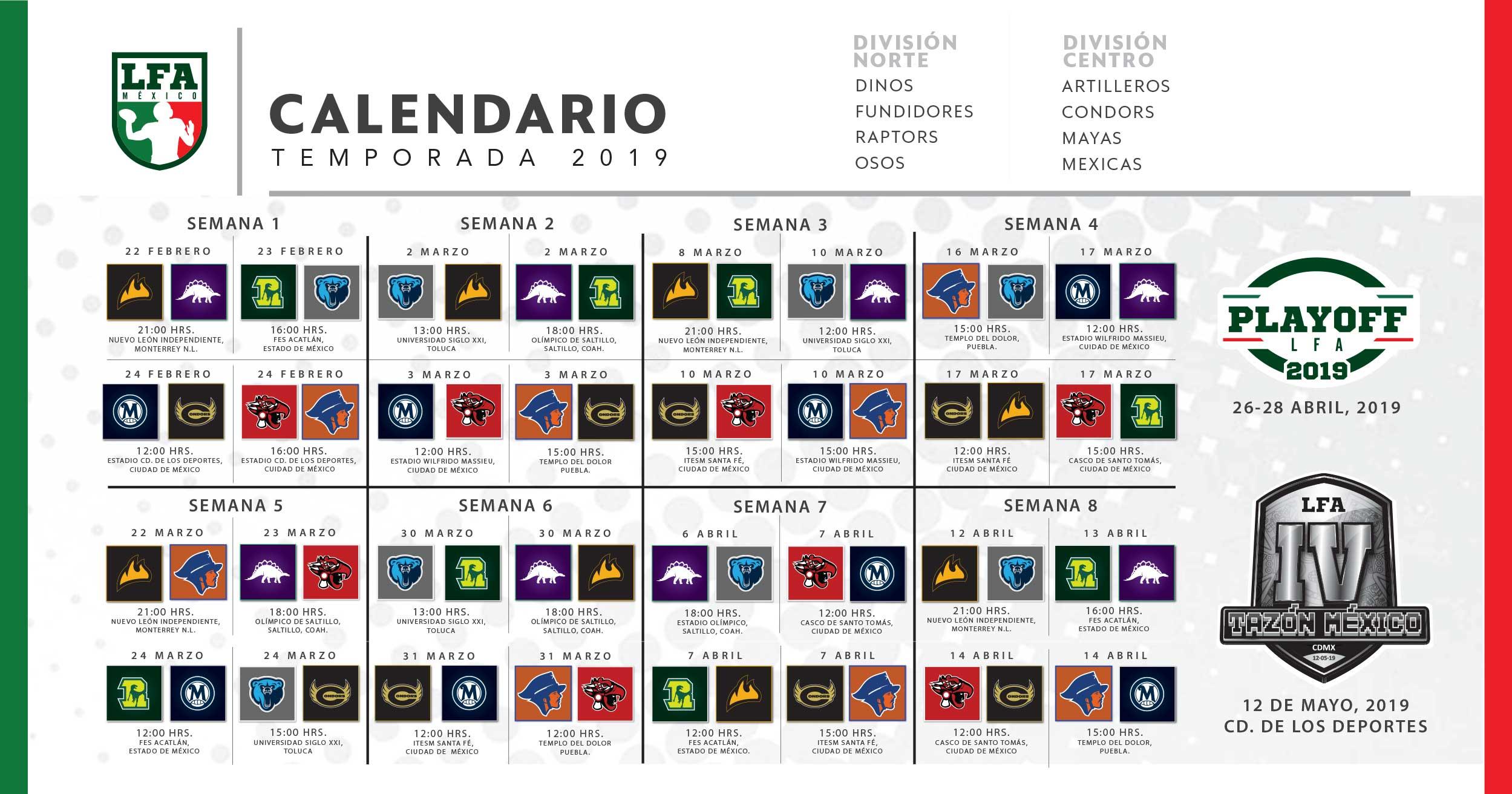Calendario Futbol 2019.Calendario Lfa
