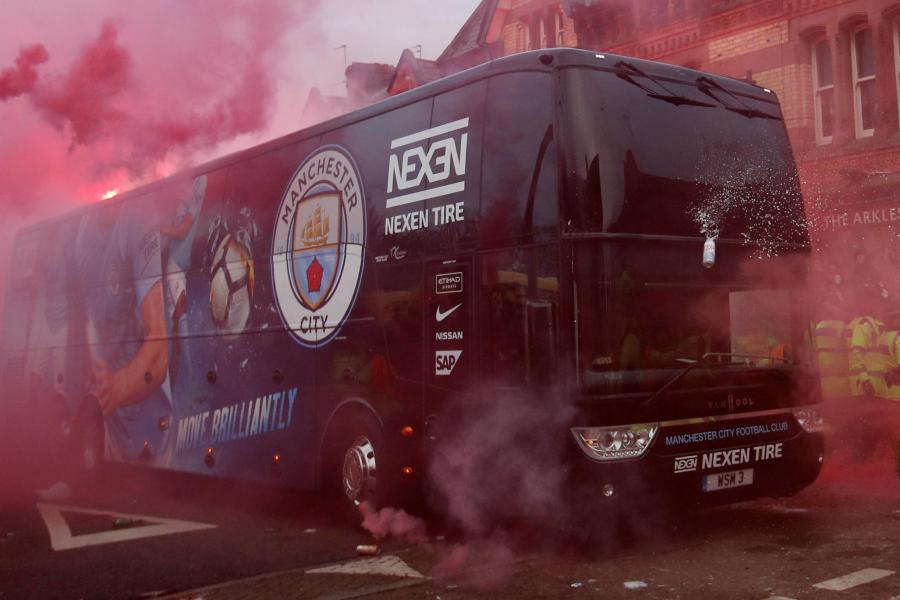 Liverpool release statement after Man City team bus damaged