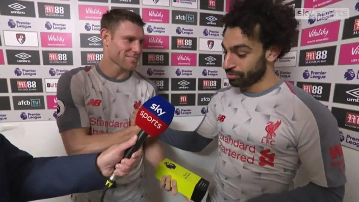 Watch: Mohamed Salah's classy gesture to James Milner in full