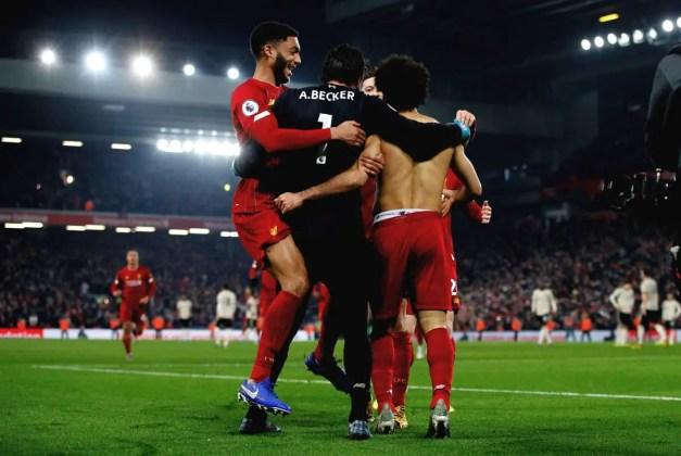 Liverpool Players Celebrate After Salah Goal vs Man United