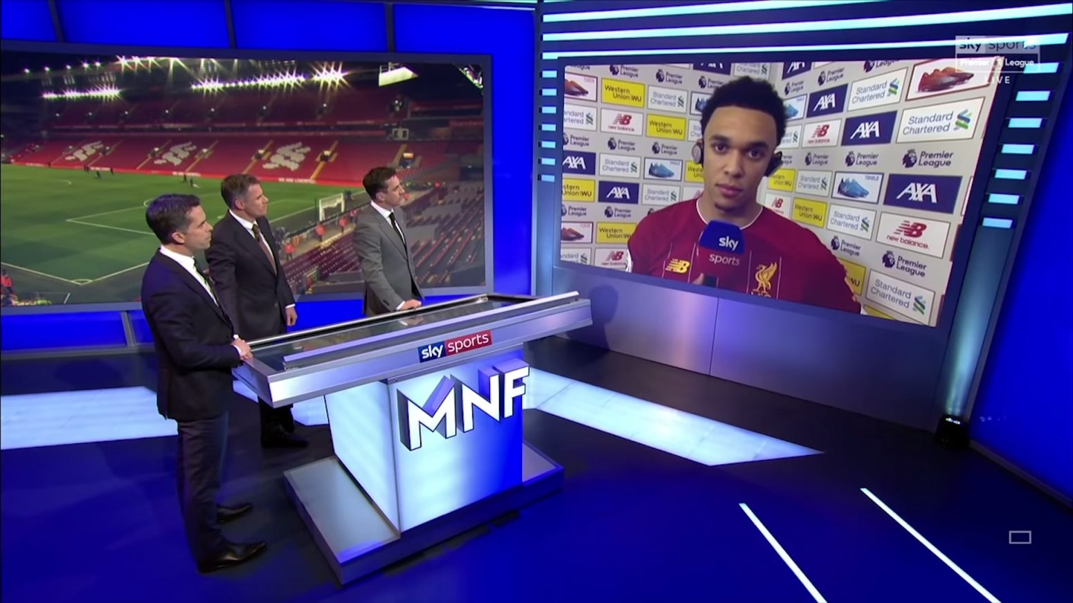 Watch: Trent Alexander-Arnold speaks to Gary Neville and Jamie Carragher on MNF following West Ham win
