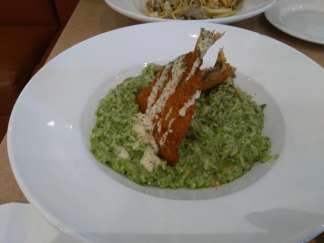 Fried fish & spinach risotto
