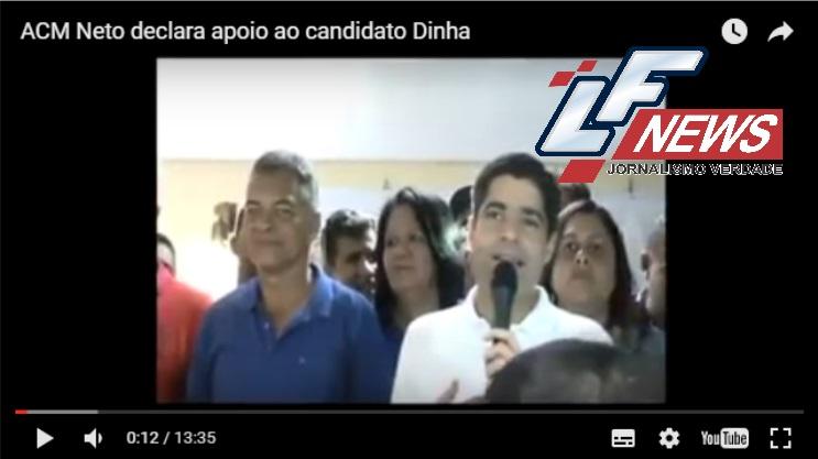Em Simões Filho, ACM Neto declara apoio ao candidato Dinha. Veja o vídeo