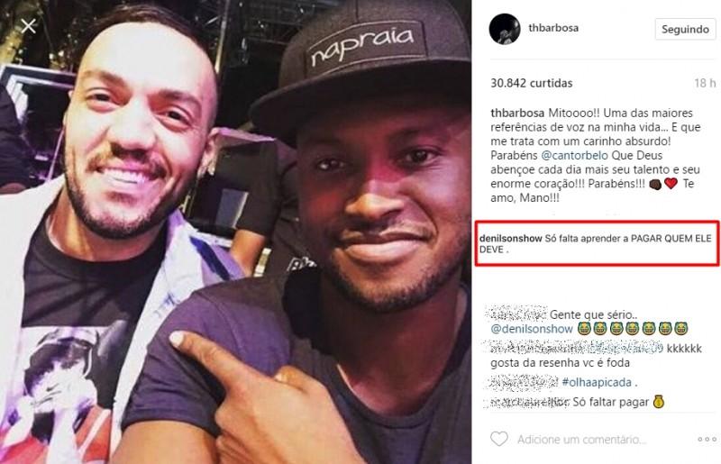 Pentacampeão Denilson volta a cobrar dívida de Belo através do Instagram