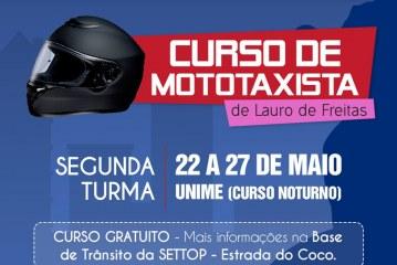 Estão abertas as inscrições para a 2ª turma do Curso de Mototaxistas de Lauro de Freitas