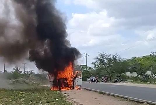 Valente: veículo do presidente da Câmara pega fogo na BA-120