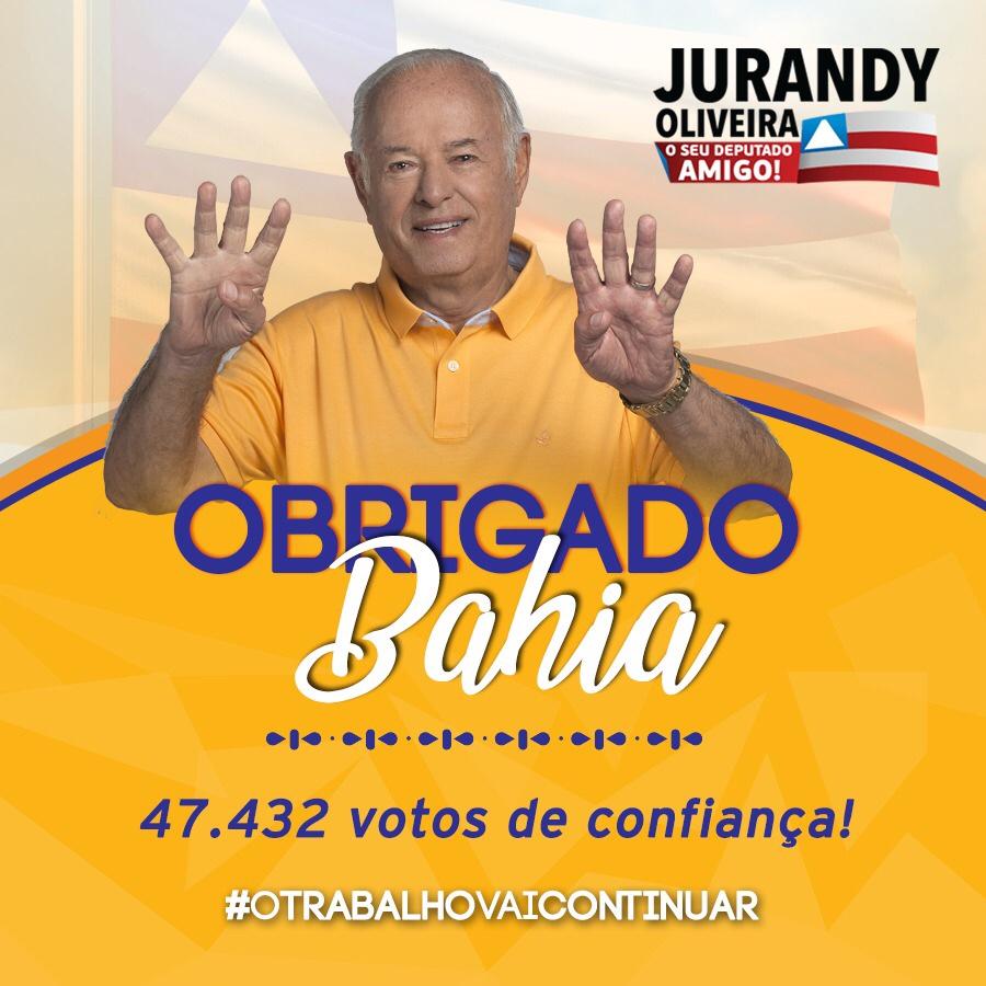 Jurandy Oliveira é reeleito deputado estadual e chega ao seu décimo mandato de muito trabalho e estória pela Bahia