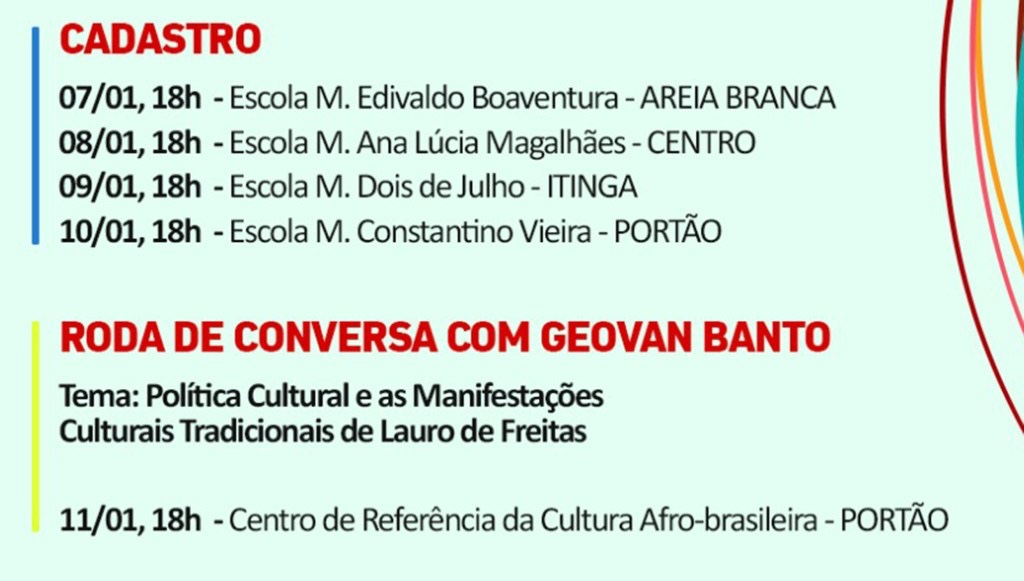 Atenção! Prefeitura de Lauro de Freitas convoca artistas para recadastramento cultural