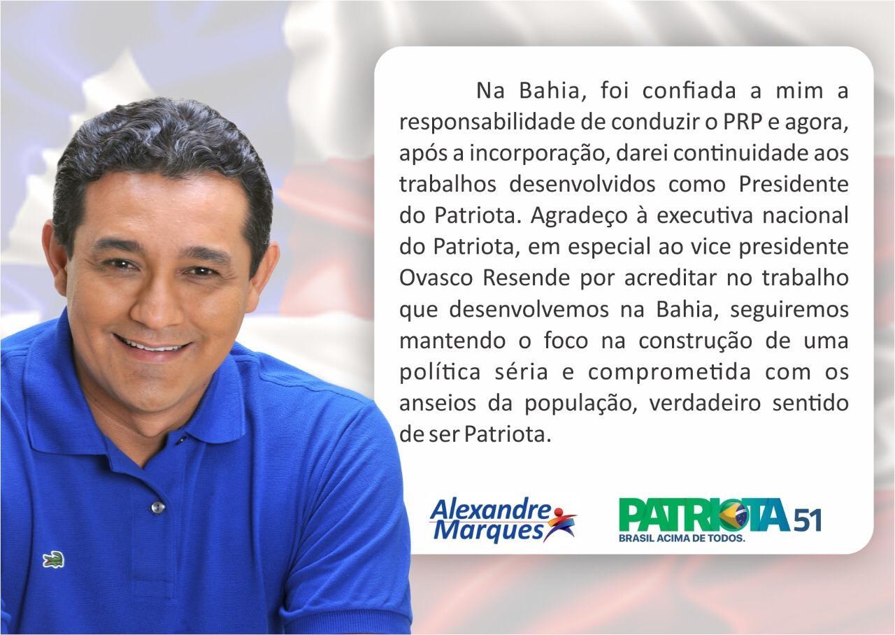 Agora é oficial! Alexandre Marques assume o Patriota na esfera estadual