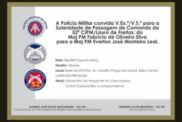 Solenidade de Passagem de Comando da 52ª e 81ª CIPM, acontece nesta quarta-feira, 24