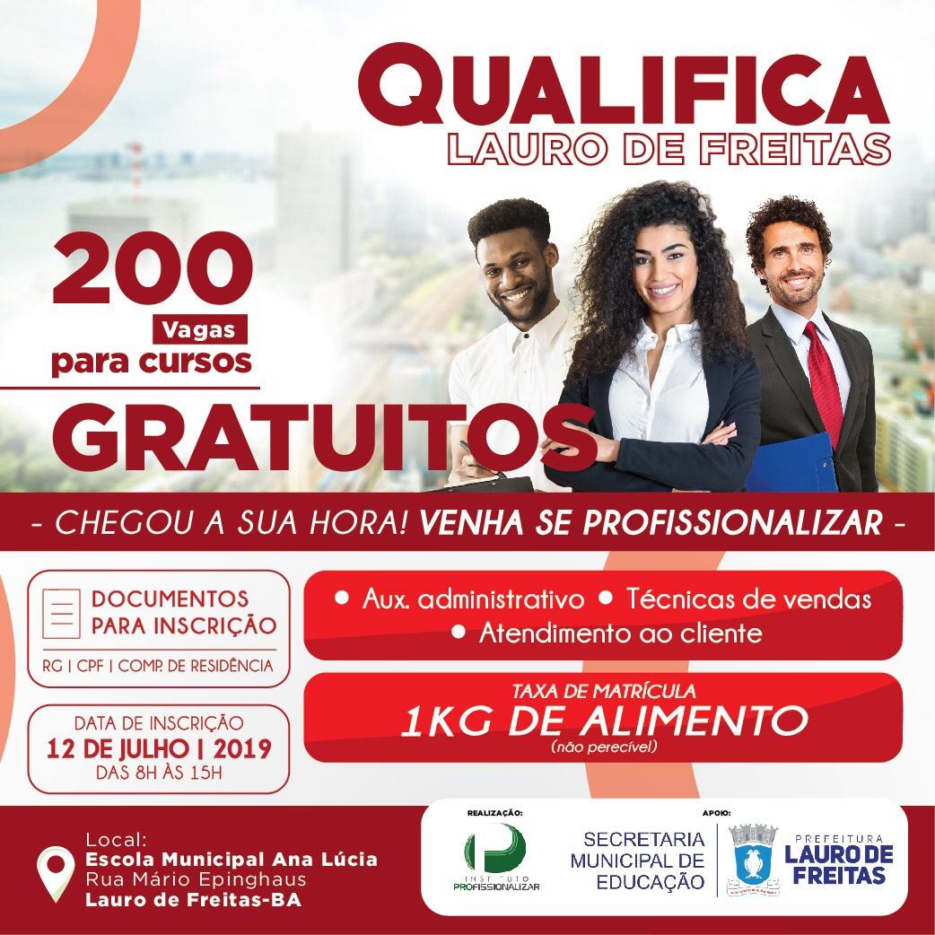 Projeto Qualifica inscreve até esta sexta-feira (12) para cursos gratuitos em Lauro de Freitas