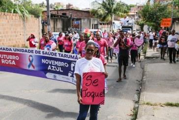 Caminhada no Tarumã alerta sobre câncer de mama e lança campanha do Novembro Azul