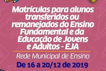 Prazo para transferência de educandos do Fundamental e EJA termina nesta sexta-feira (20)