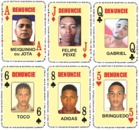 Cinco homicidas e um traficante entram no Baralho da SSP-BA