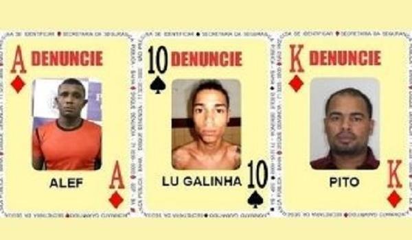 Três foragidos são inseridos no Baralho do Crime da SSP por homicídio, tráfico de drogas e organização criminosa