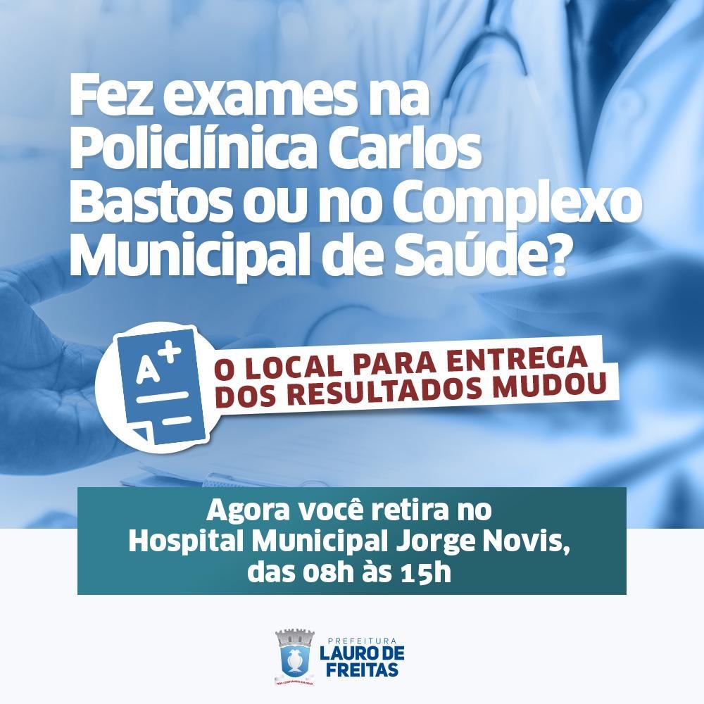 Entrega de resultado de exames agora é no Hospital Municipal Jorge Novis