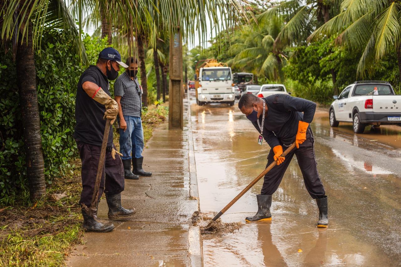 Previsão é de mais chuva em Lauro de Freitas no fim de semana. Equipes mantém trabalho preventivo