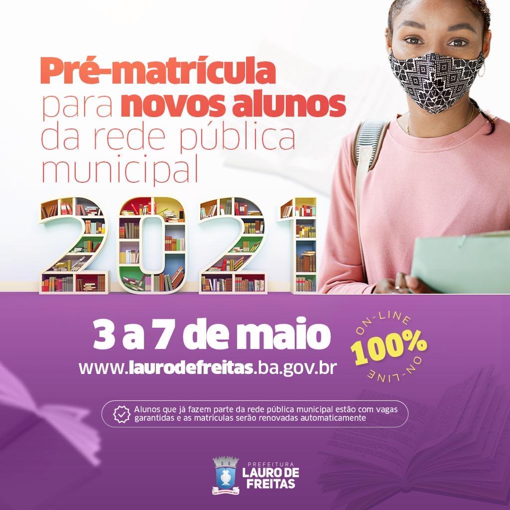 Alunos novos: pré-matrícula na rede municipal de Lauro de Freitas será de 3 a 7 de maio