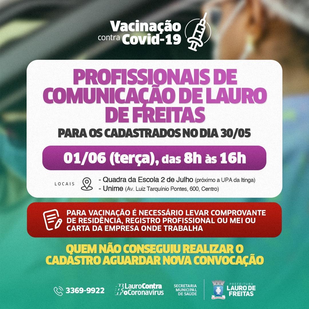 Lauro de Freitas vacina profissionais de imprensa nesta terça-feira (01/06)