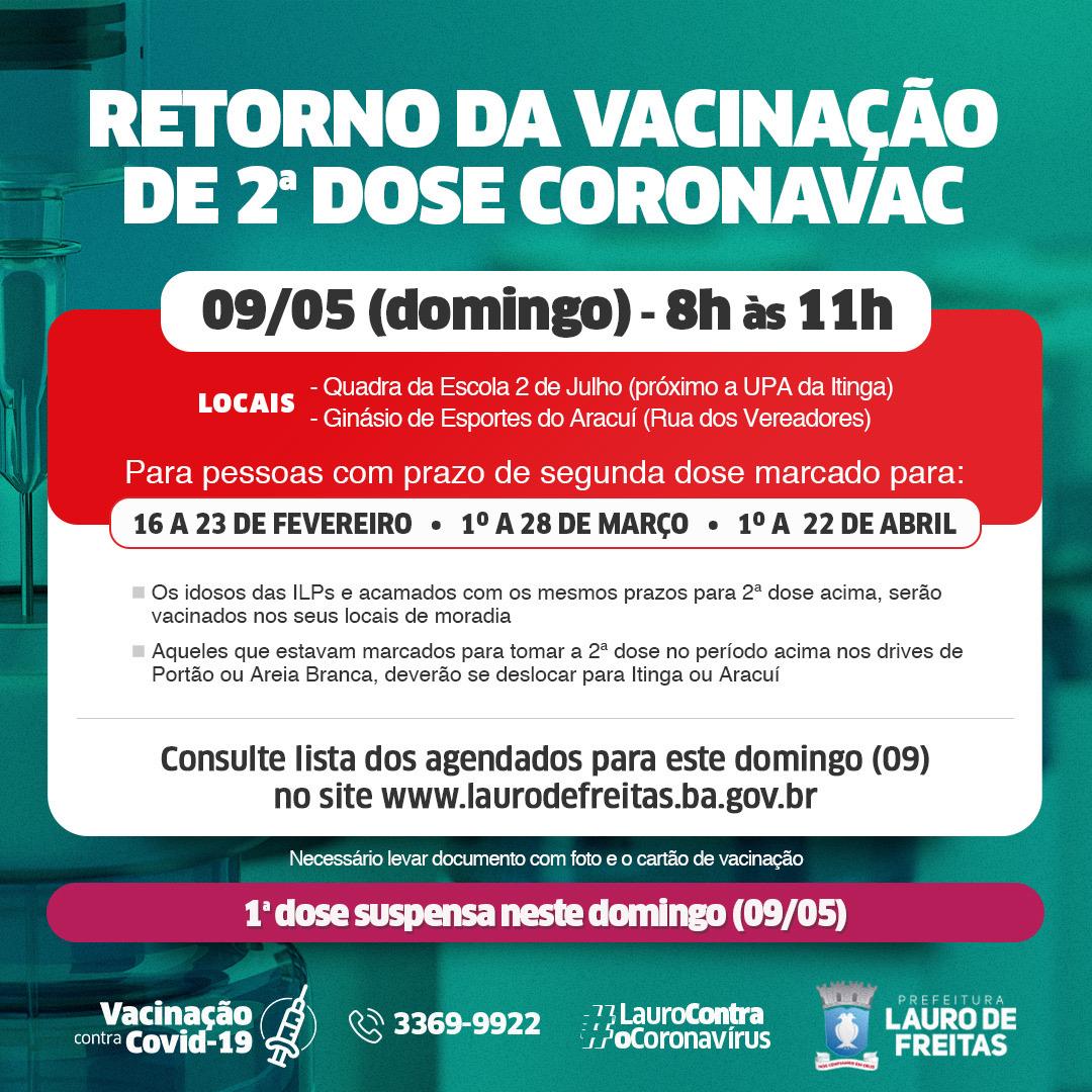 Lauro de Freitas retoma aplicação da 2ª dose da Coronavac neste domingo (09)