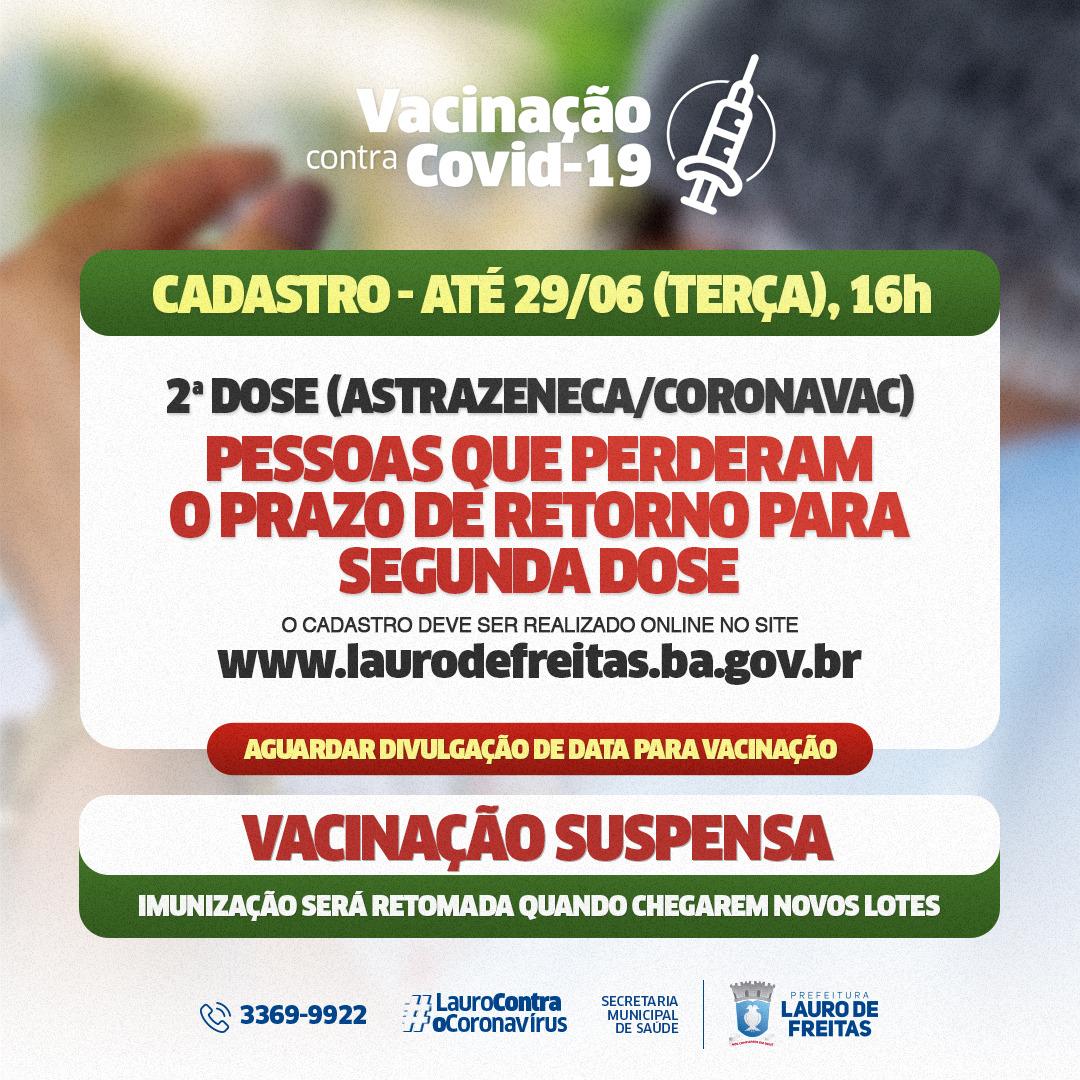 Lauro de Freitas realiza cadastro para pessoas que perderam o prazo da 2ª dose da vacina contra a Covid-19