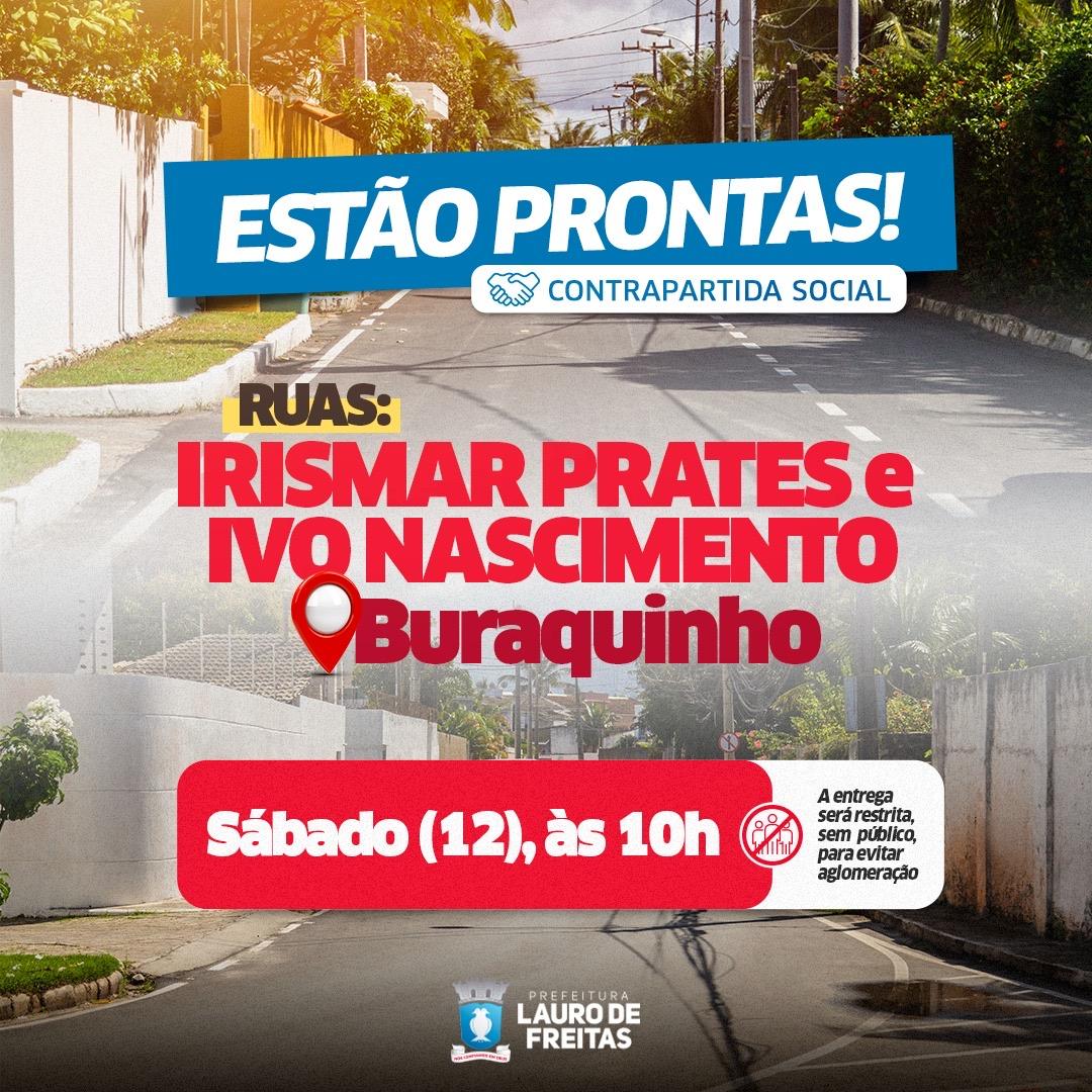 Prefeitura entrega, neste sábado (12), revitalização de ruas em Buraquinho