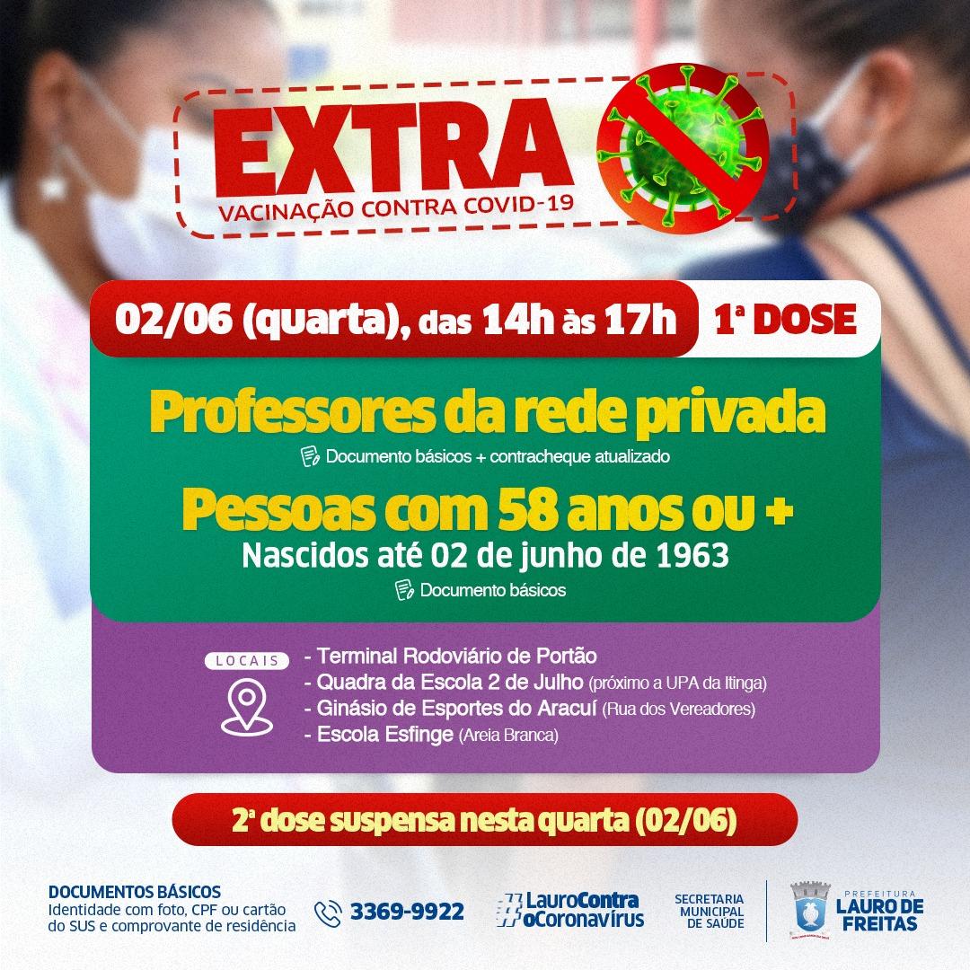 Lauro de Freitas retoma vacinação contra Covid-19 para professores da rede privada e pessoas com 58 ou mais, nesta quarta-feira (2)
