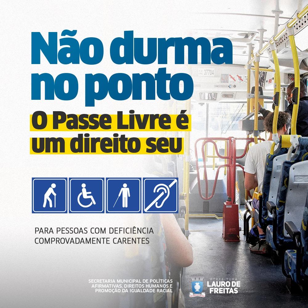Pessoas com deficiência podem solicitar o passe livre intermunicipal em Lauro de Freitas. Saiba como