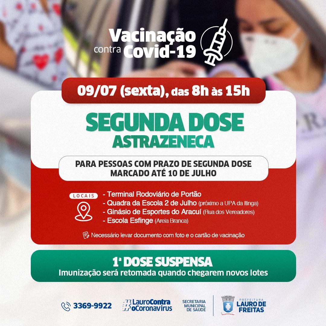 Em Lauro de Freitas, 2ª dose da vacina Astrazeneca é aplicada nesta sexta-feira (09)