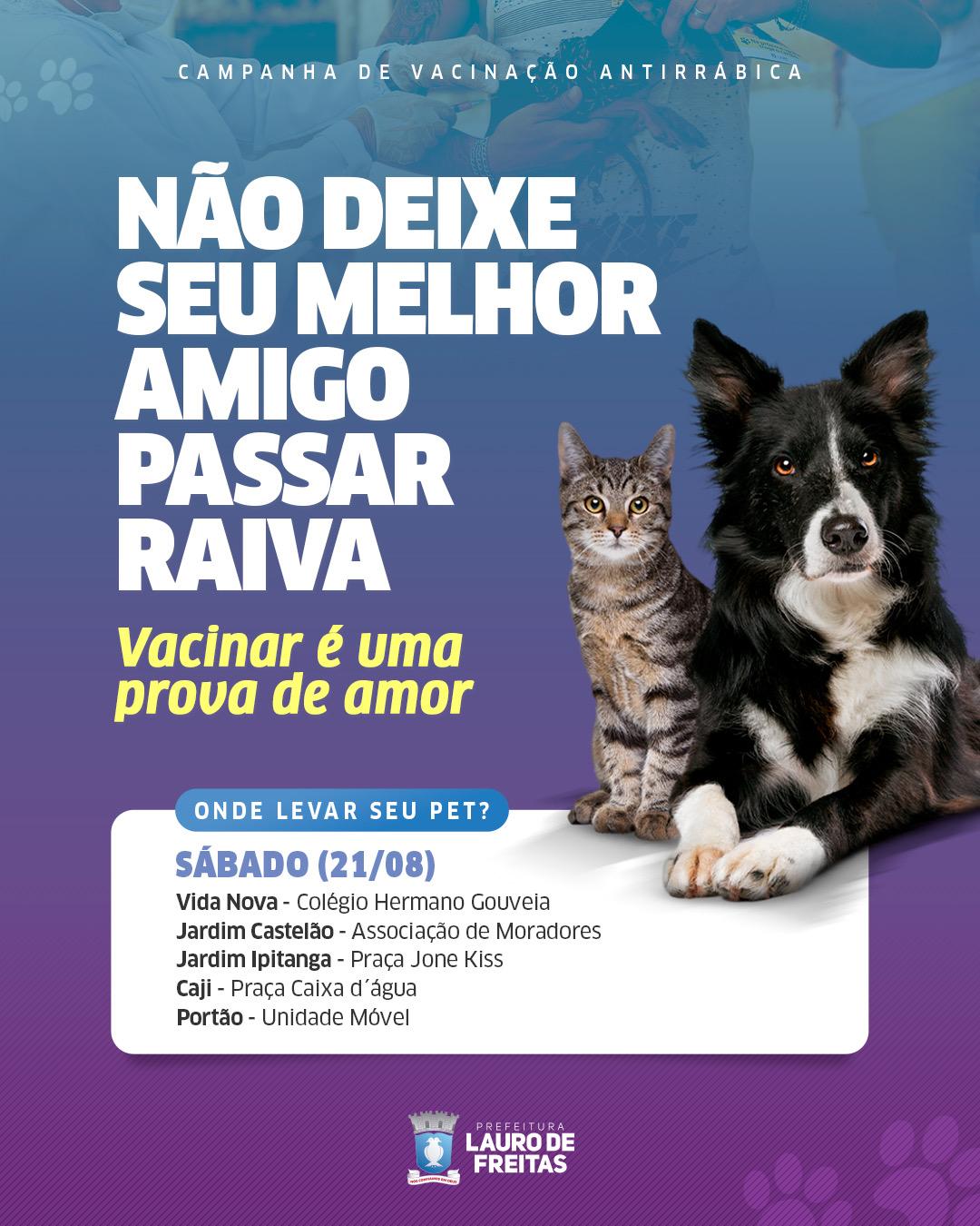 Lauro de Freitas inicia campanha de vacinação antirrábica neste sábado (21)
