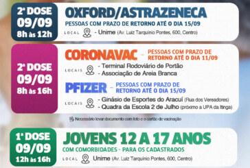 Vacina é aplicada em adolescentes com comorbidades nesta quinta-feira (09) em Lauro de Freitas. 2ª dose também é retomada