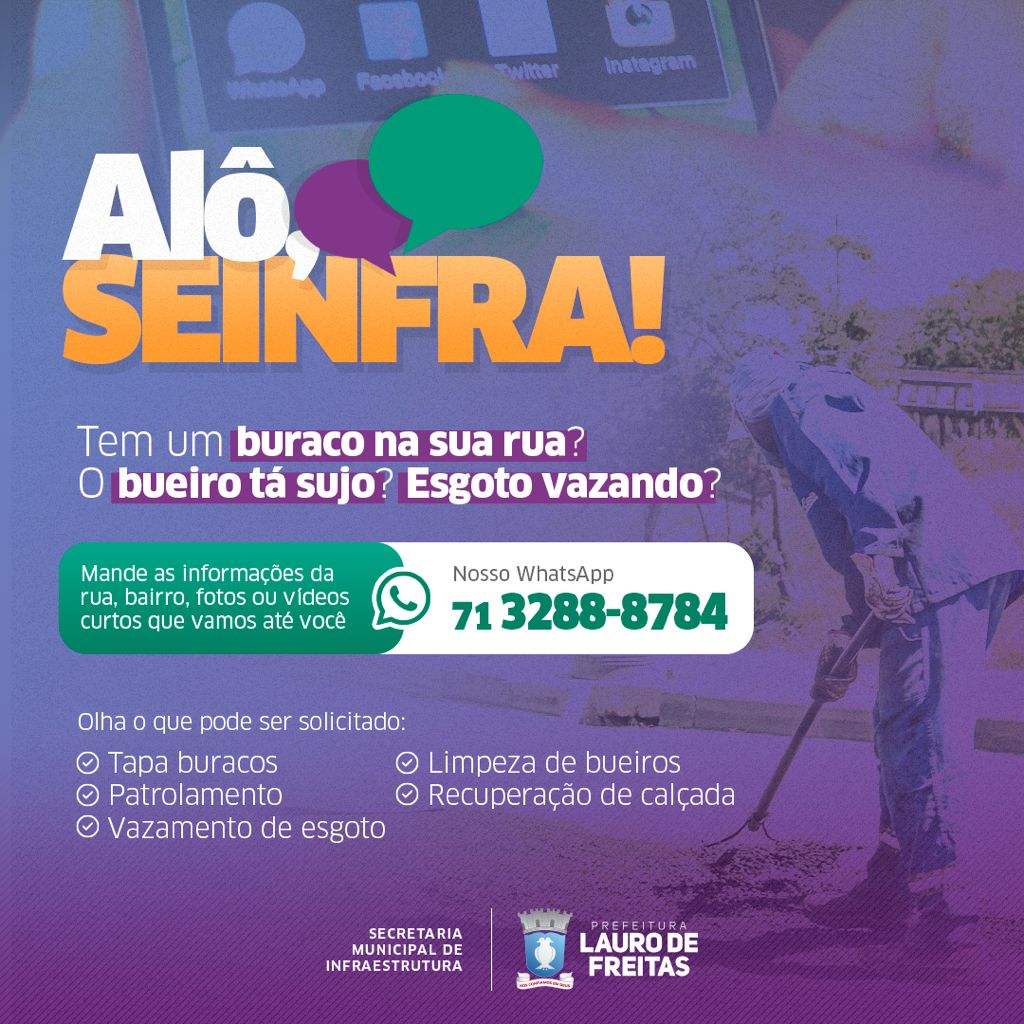 Alô, SEINFRA!: moradores de Lauro de Freitas ganham contato via WhatsApp com a Secretaria de Infraestrutura
