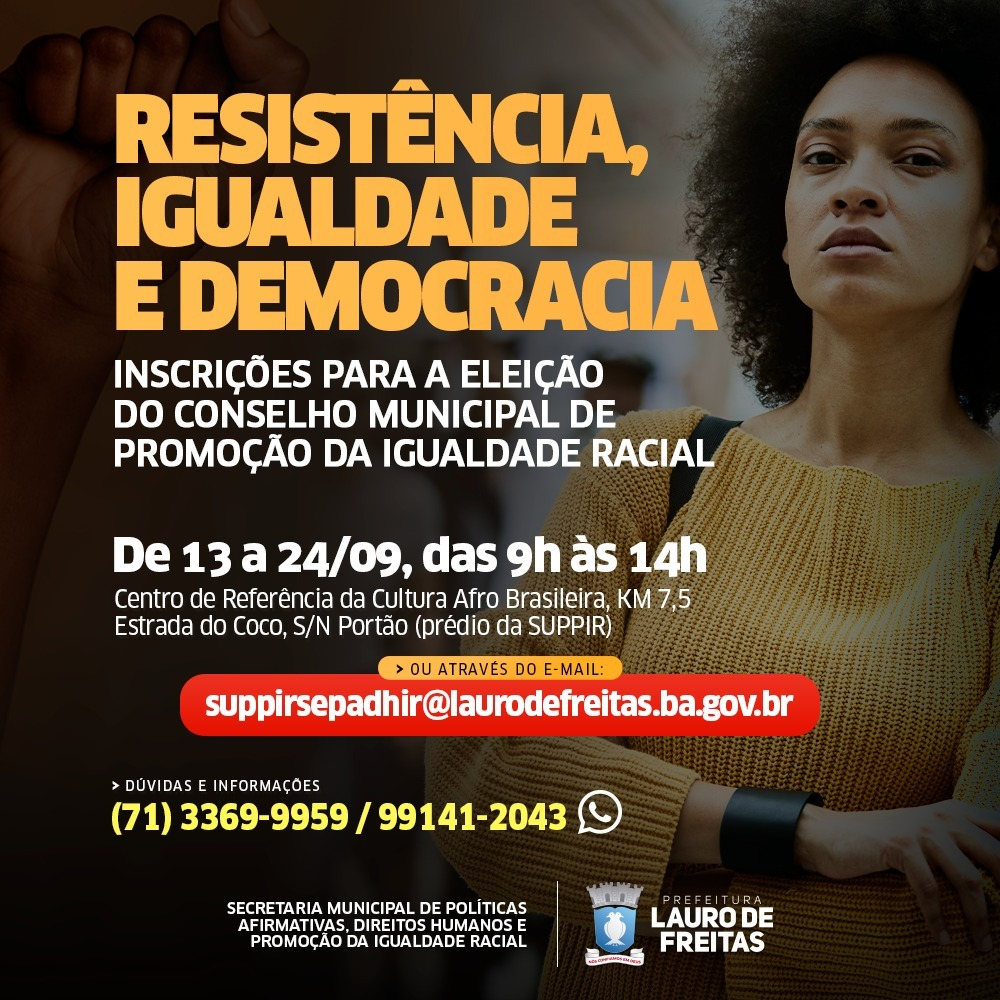 Inscrições para eleição do Conselho de Promoção da Igualdade Racial de Lauro de Freitas abrem nesta segunda-feira (13)