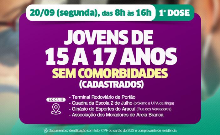 Jovens de 15 a 17 anos de Lauro de Freitas, sem comorbidades, serão vacinados nesta segunda-feira (20)