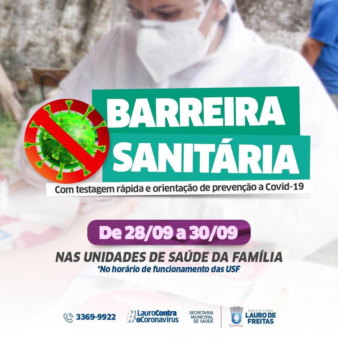 Lauro de Freitas intensifica barreira sanitária para rastreio de casos da Covid-19 até quinta-feira (30)