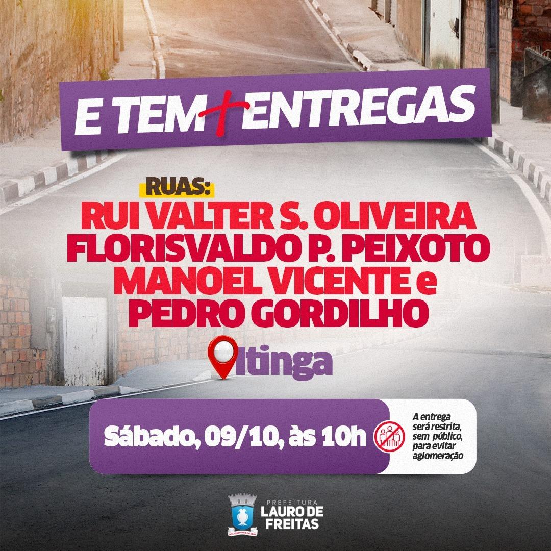 Prefeitura de Lauro de Freitas inaugura pavimentação asfáltica de mais quatro ruas na Itinga
