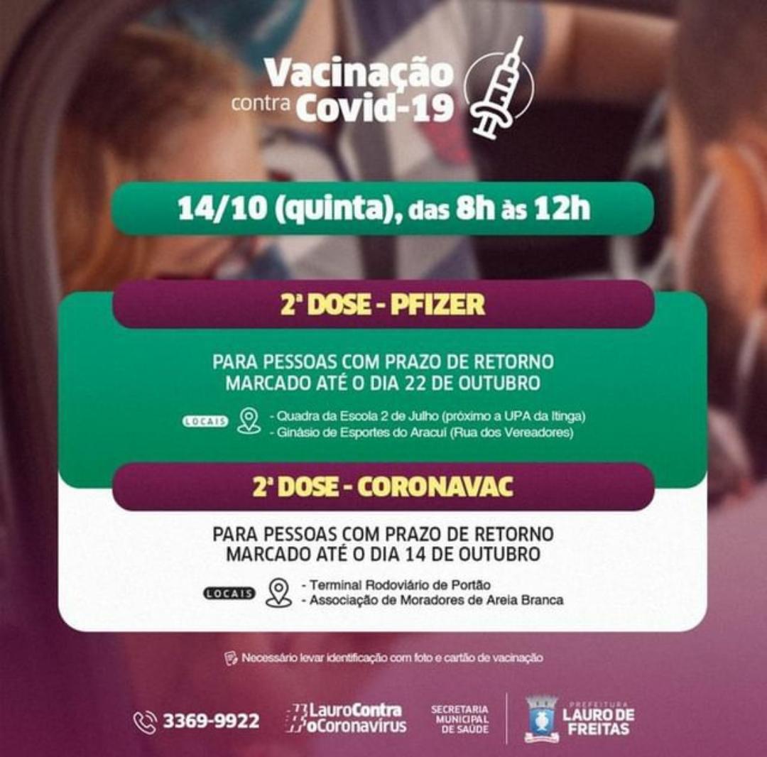 Lauro de Freitas aplica 2ª dose da Pfizer e Coronavac nesta quinta-feira (14)