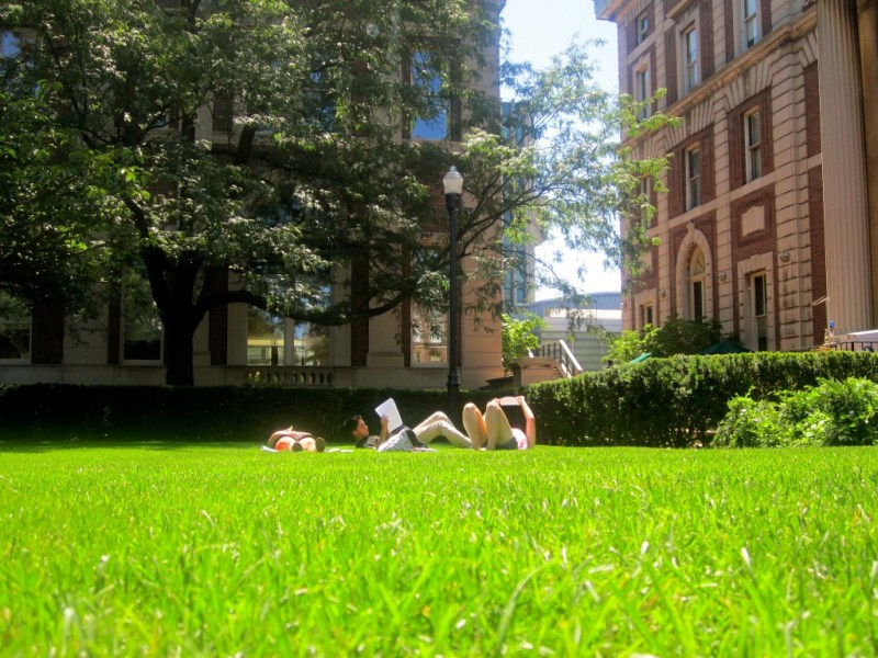 completing peer reviews out on the lawn at Columbia, Summer 2012