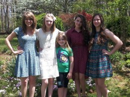 The girls in their pretty Easter dresses---Taylor had had enough & already changed.
