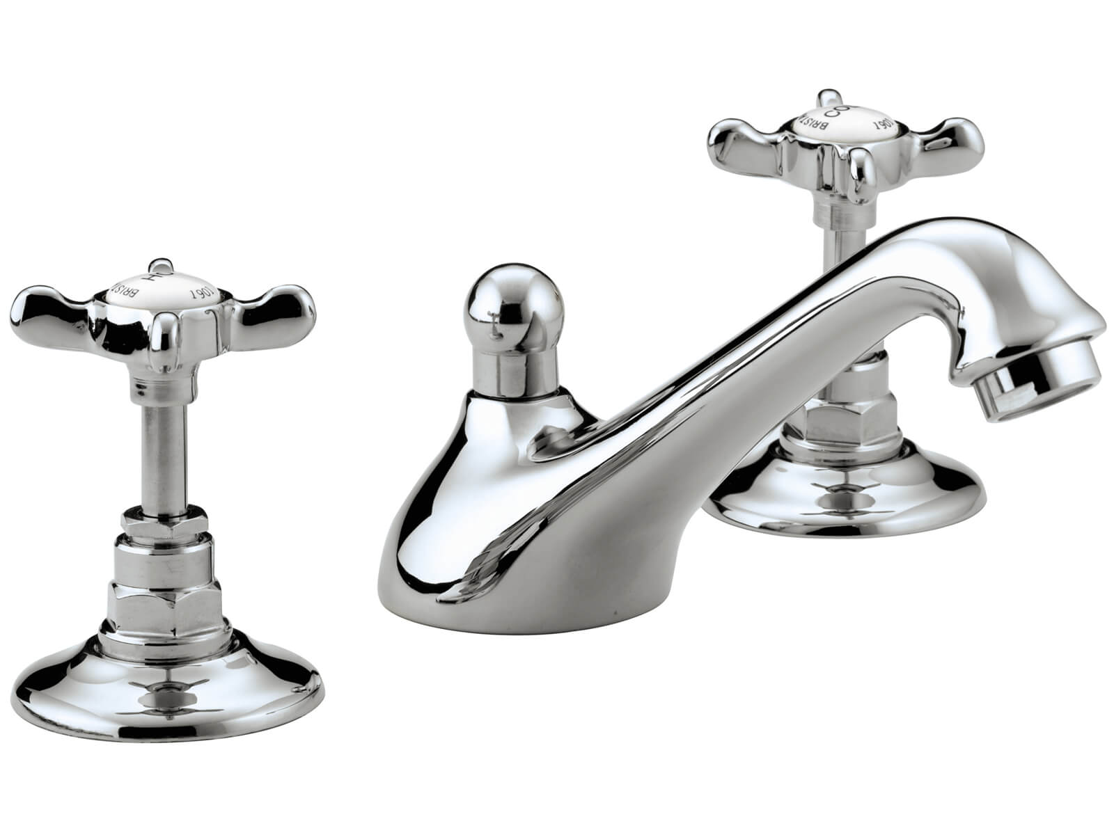 Bristan 1901 Chrome 3 Hole Basin Mixer Tap With Pop Up Waste