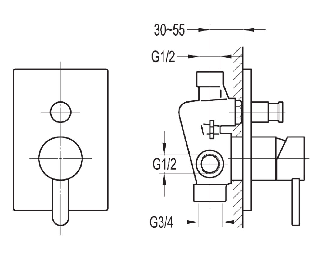 Flova Essence Manual Concealed Shower Valve With 2 Way