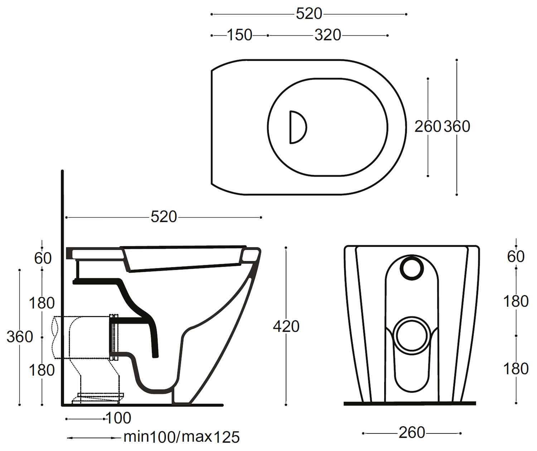 Bauhaus Svelte White Back To Wall Wc Pan With Soft Close Seat