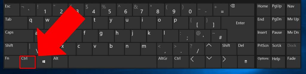keyboard with control key highlighted